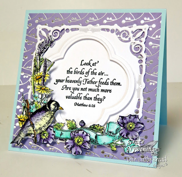 ODBD stamps, Finch Collage, Hymn Collage, Quaterfoil Design, designed by Grace Nywening