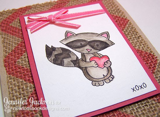 Valentine Card using Raccoon stamp by Newton's Nook Designs