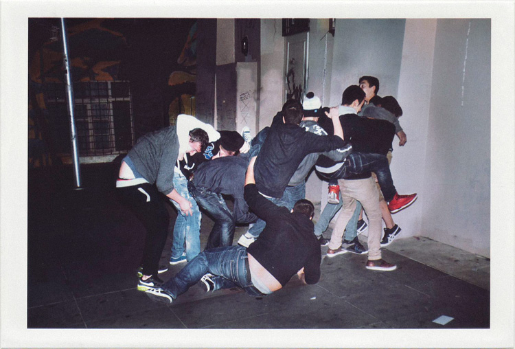 dirty photos - umbra - a night street photo of boys fighting in crete