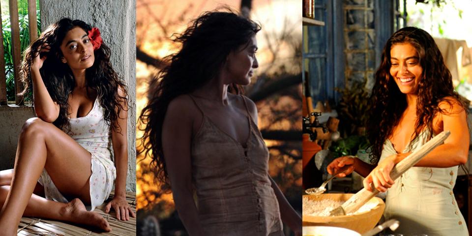 Juliana Paes, novela, sensual, vestido simples, flor no cabelo, cravo e canela