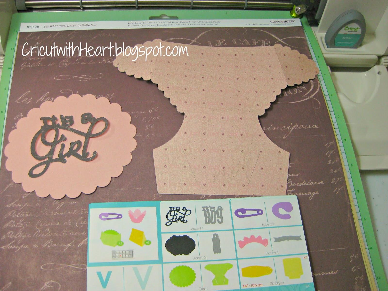 Cricut With Heart Artiste Baby Diaper Card