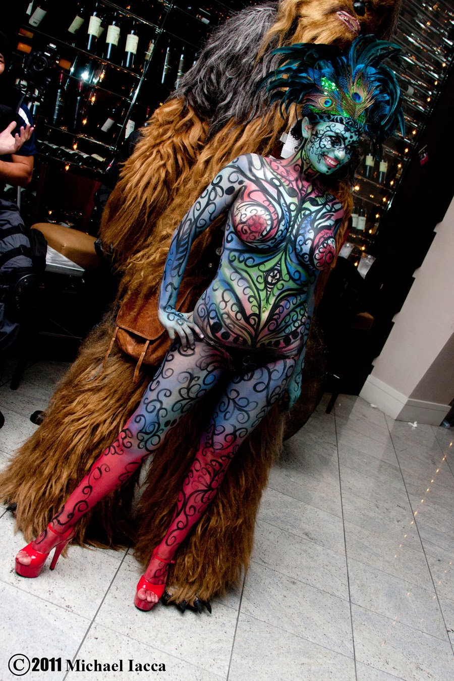 body paint coloré devant cosplay de Chewbacca