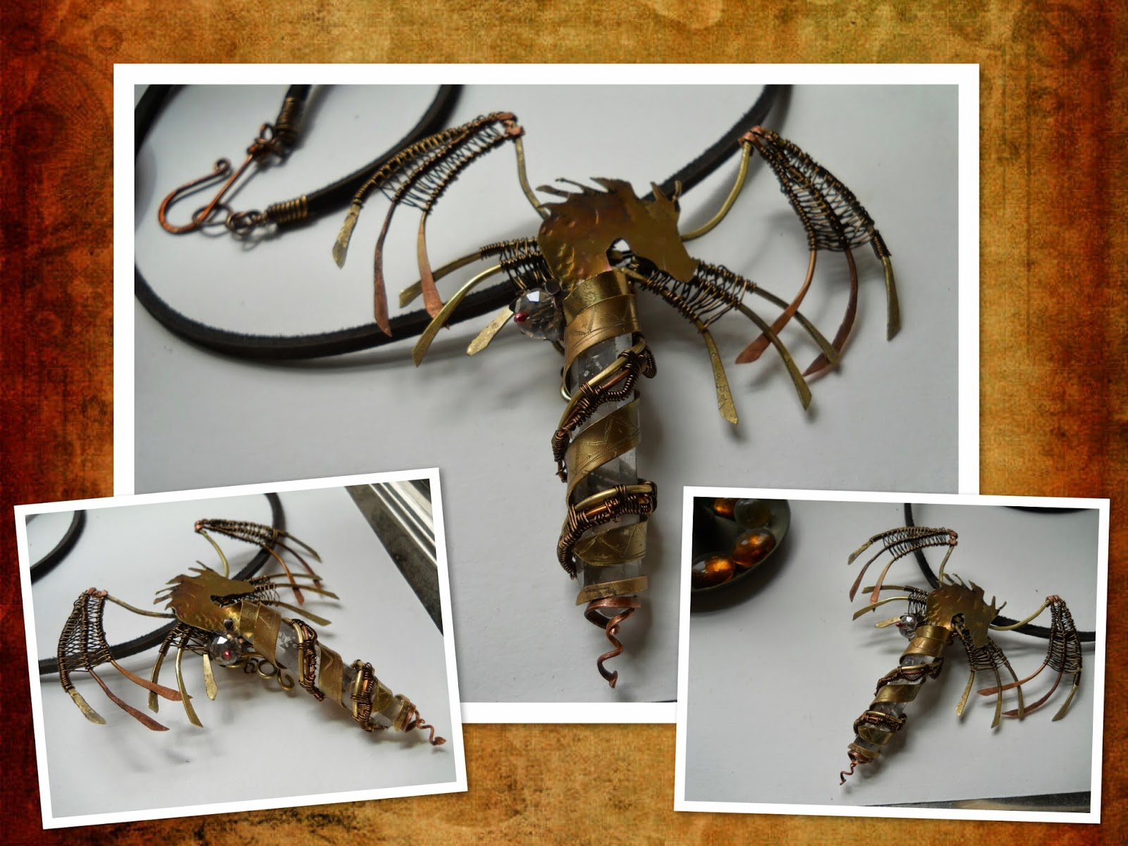 brass and copper dragon entwined around a quartz crystal point