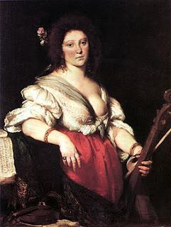 The Viola da Gamba Player c. 1630–1640, (Gemäldegalerie, Dresden) by Bernardo Strozzi