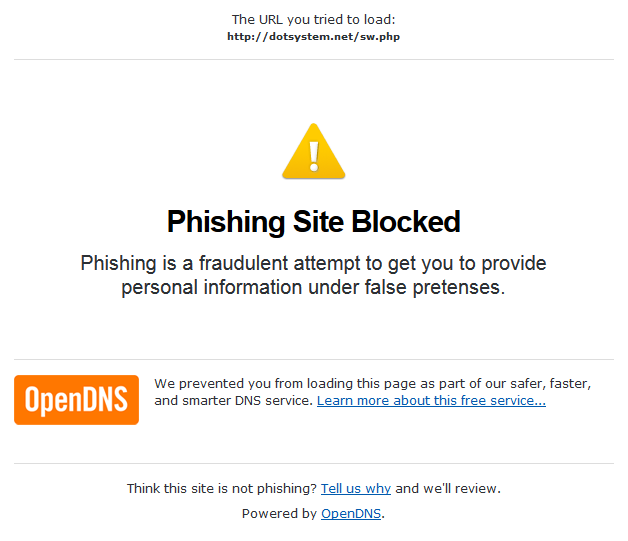 OpenDNS blocks phishing email