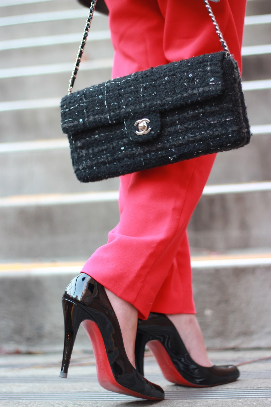 chanel tweed flap christian louboutin pumps black patent