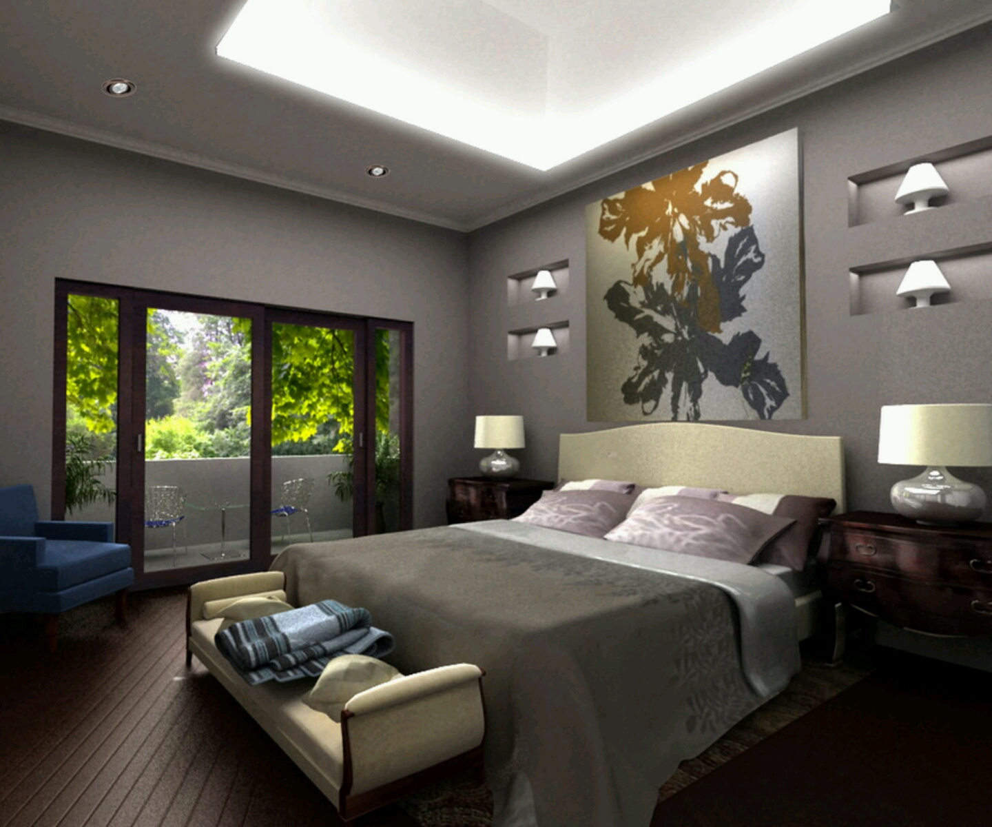 Modern furniture modern bed designs beautiful bedrooms for Beautiful interior painted houses