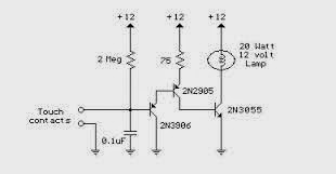 wiring schematic diagram touch activated v lamp circuit using current and the current gain is usually less than 200 three transistors are needed to raise the microamp current levels through the touch contacts