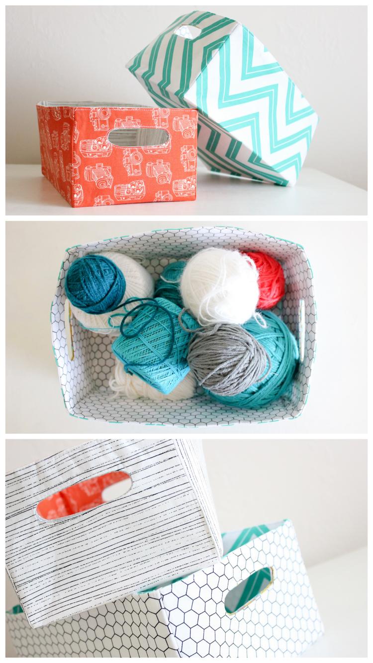 Como fazer cestas de tecido por Delia Cria
