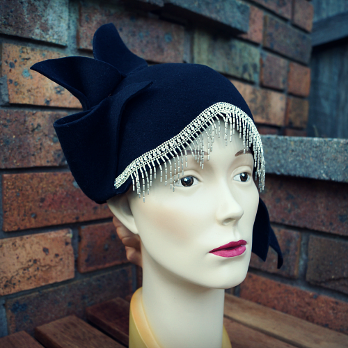 Black 1920s stlye cloche by Tanith Rowan Designs