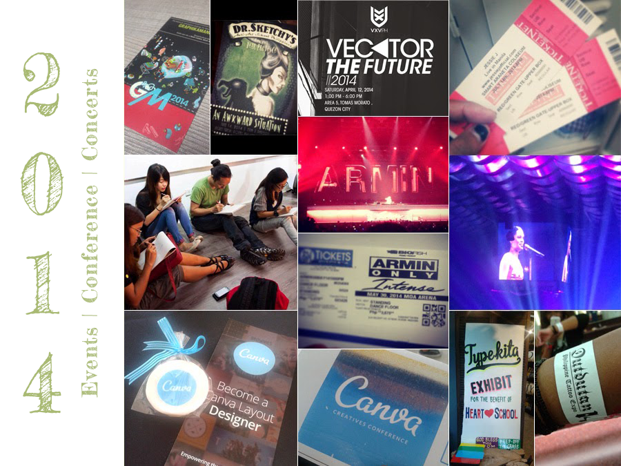 Events | Conference | Concerts | Graphika Manila 2014 | Dr. Sketchy's: An awkward situation | VxV Vector the Future Conference 2014 | Jessie J Live in Manila 2014 | Armin Only 2014 | Canva Creatives Conference 2014 | Type Kita Exhibit at 10a Alabama | Dutdutan Philippine Tattoo Expo 2014