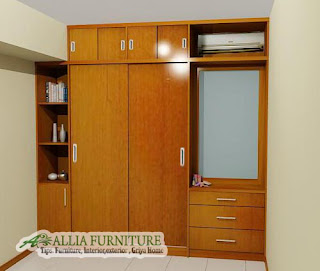 Lemari pakaian minimalis unit kabinet dengan kaca rias, ac