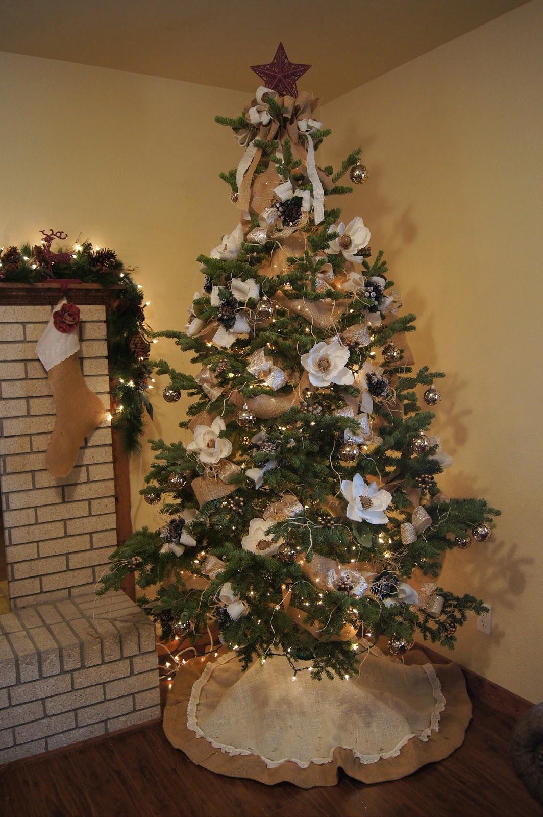 In full bloom floral design elegant french burlap for Burlap christmas curtains