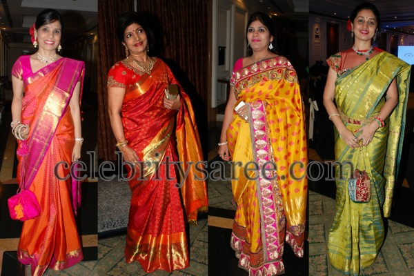 Pretty Ladies in Bright Color Silk Saris