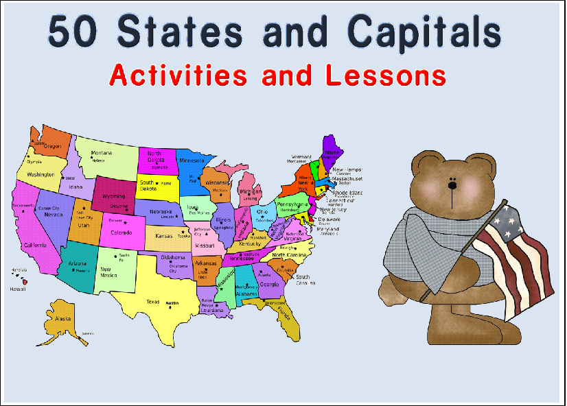 States and Capitals Activity Pack includes: