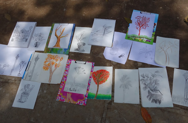 Some of the artworks created by the children during the Outdoor Sketching Workshop at Mumbai on 7th June 2015