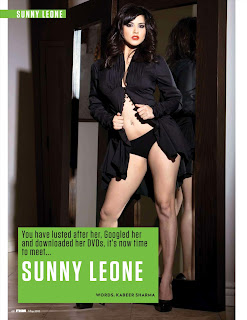Sunny Leone in FHM India May 2012- Black Panties and Top Dress