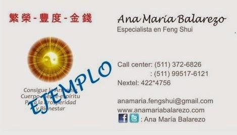 feng shui tarjetas de presentaciÓn personales ana maria balarezo
