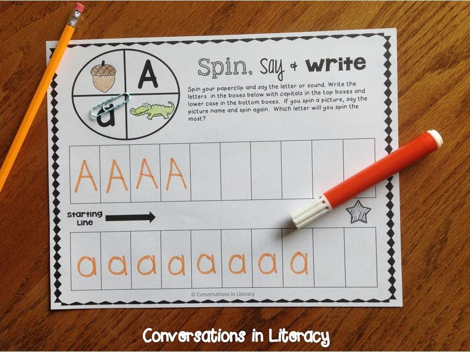 fun way to learn the ABCs with Spin, Say & Write