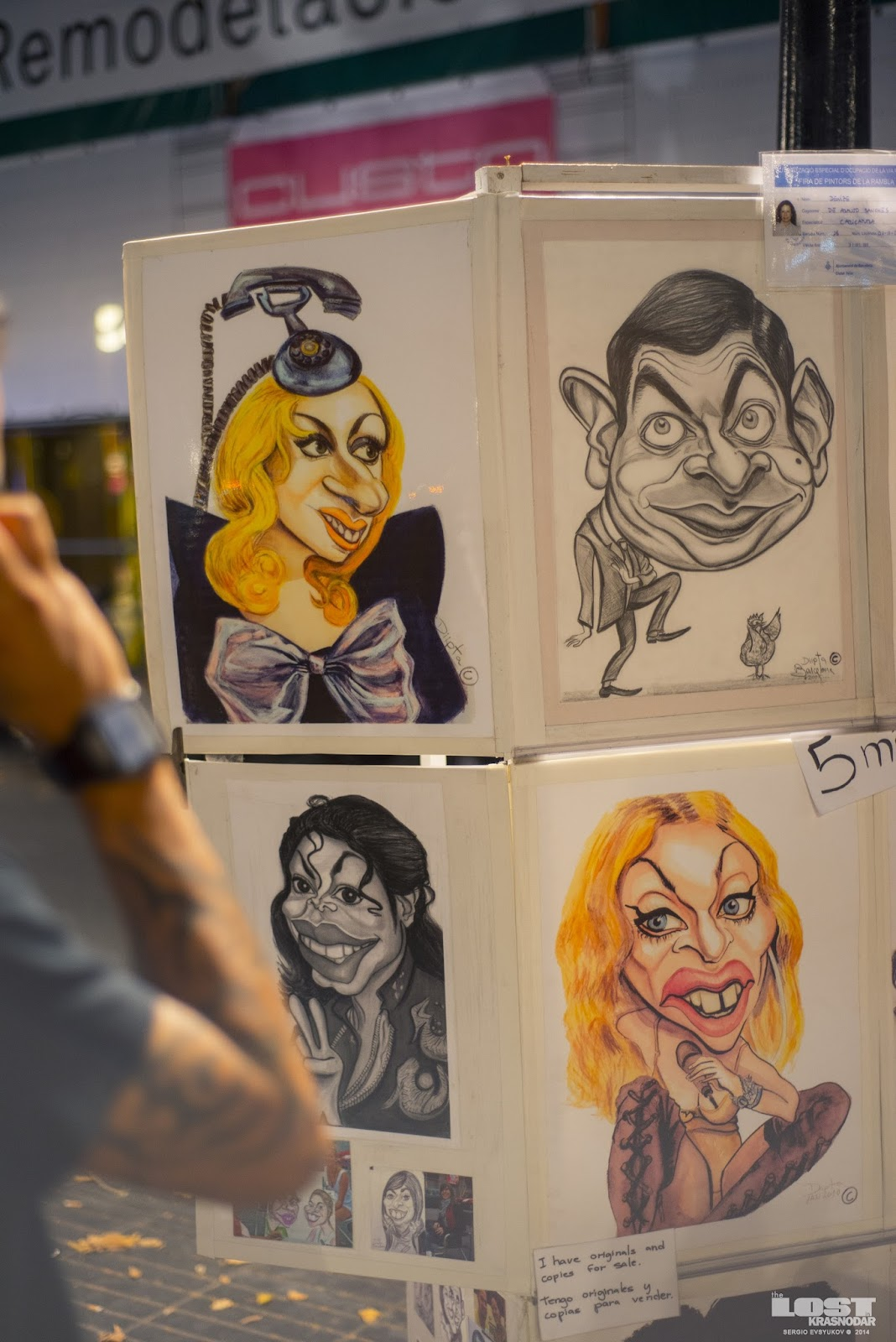 caricatures of famous pop stars Lady Gaga, Madonna, MJ