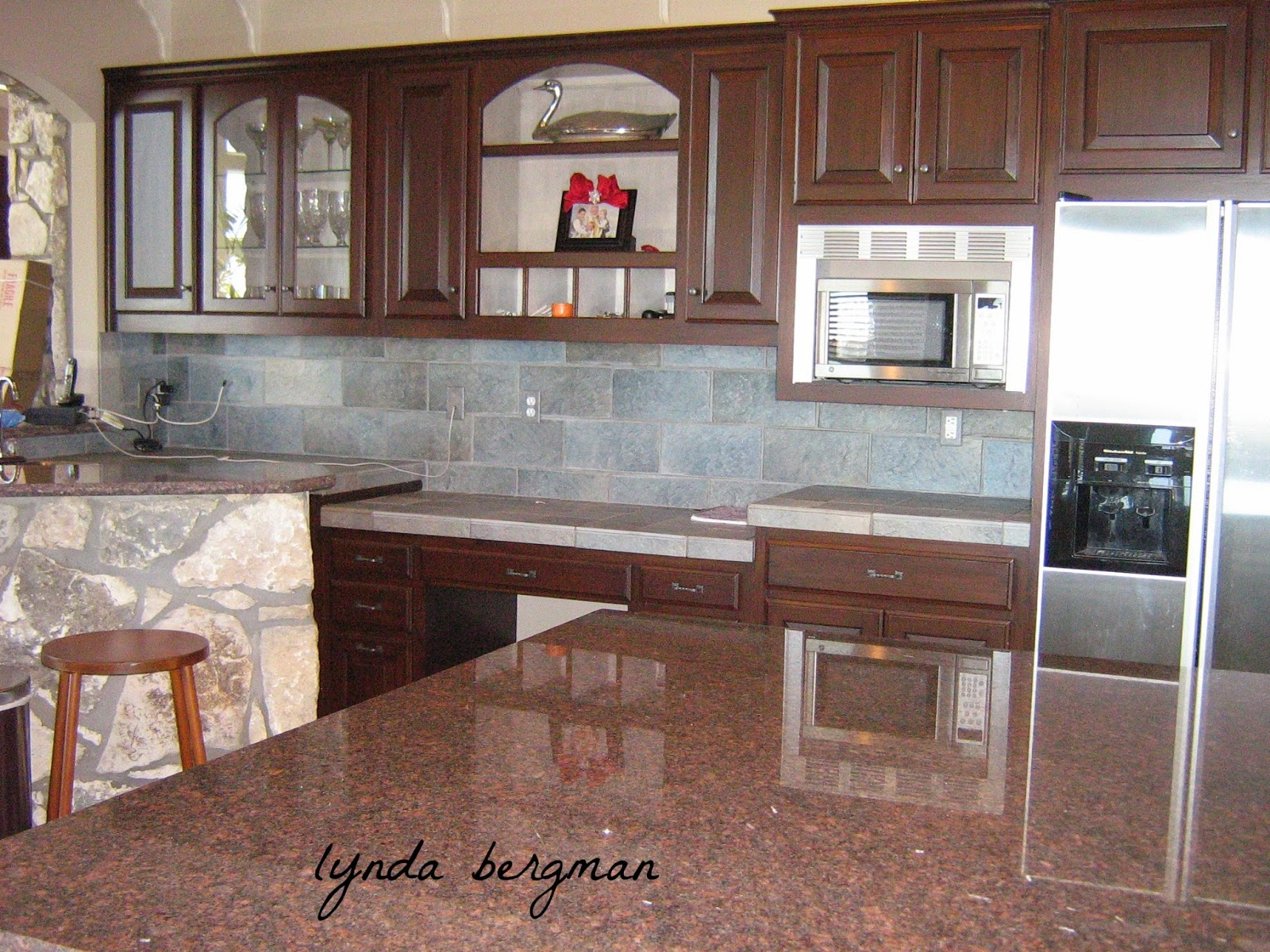 White Kitchen Island Cabinets with Stained Wood