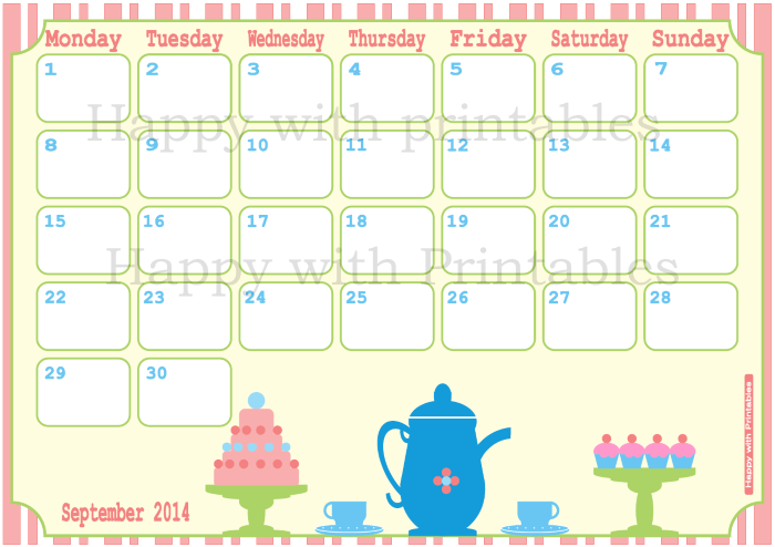 2014 planner, september planner, family planner, calendar with cupcake