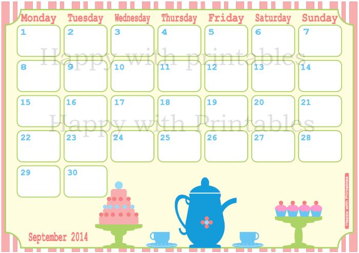2014 planner, september planner, family planner, calendar with cupcake