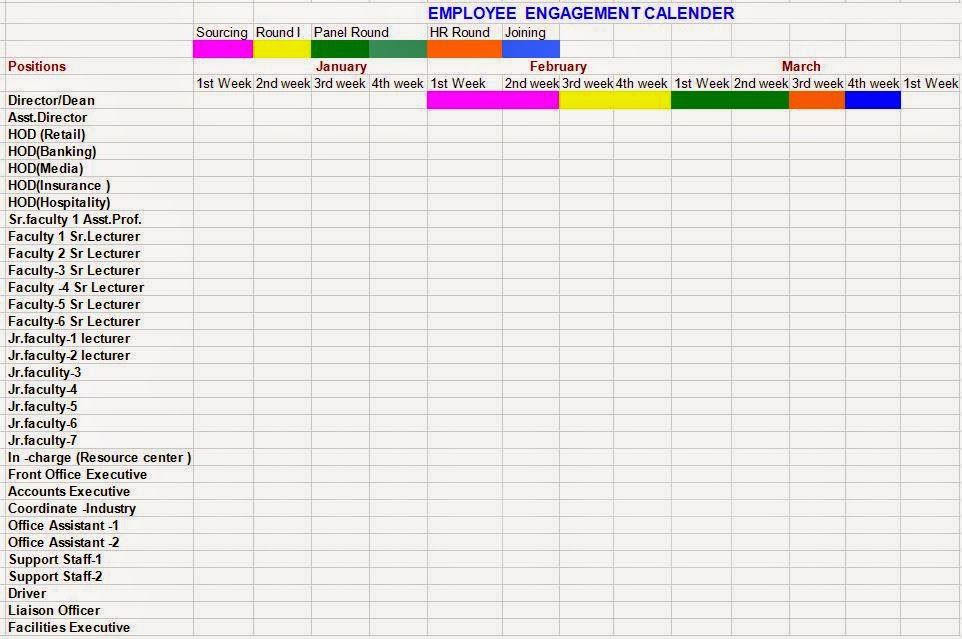 ... Staff Engagement Calendar Format in Word / Doc / Pdf Free Download