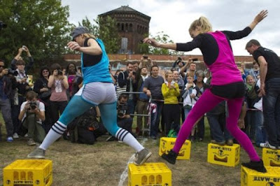 Hispter Olympics crate race in Germany