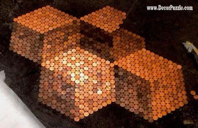 penny floor, penny tile floor, copper tile