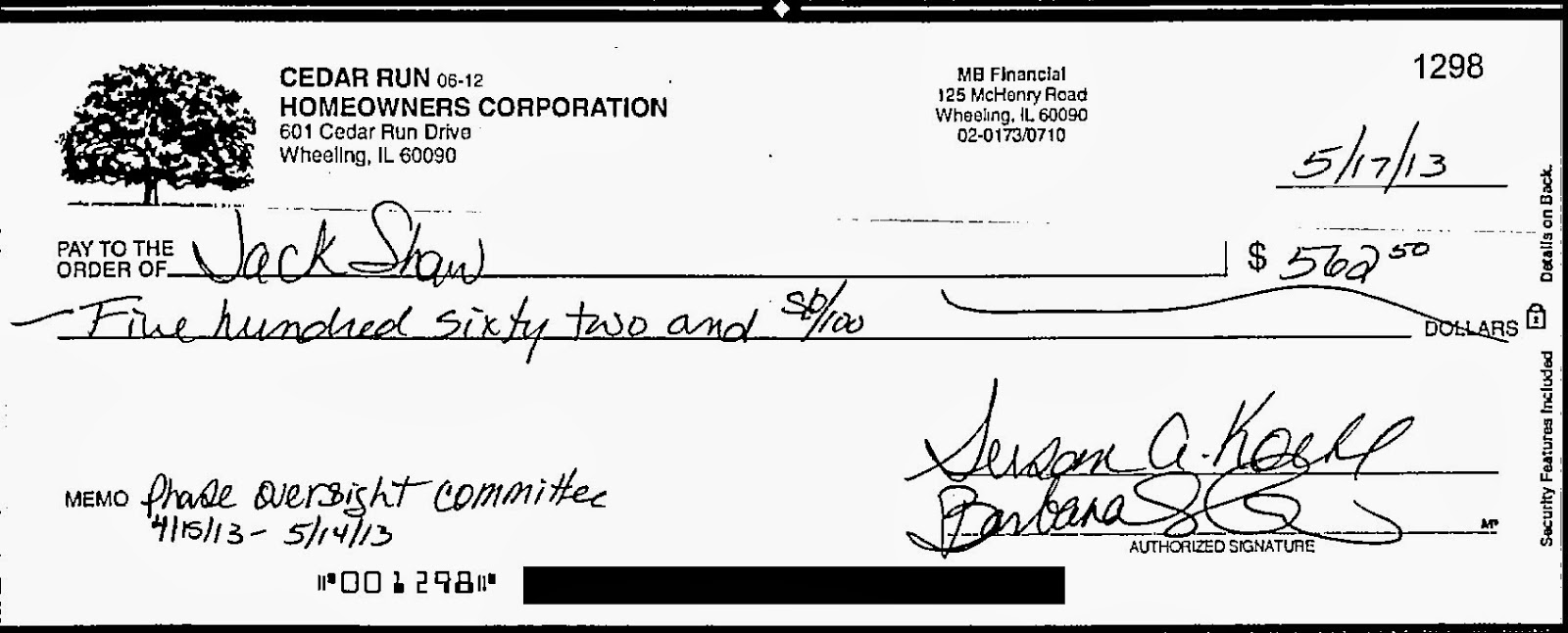 Cedar run concerned homeowners robert shers fantasy world whether its water bills oversight committee fees or insurance its called commingling of funds and its illegal see the check images below ccuart Image collections