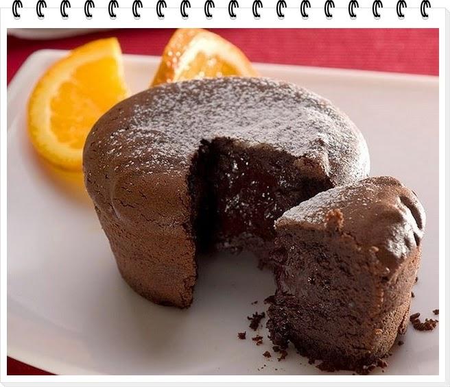 Кекс с растопленным шоколадом