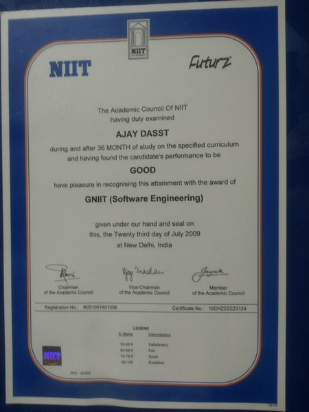 Sample certificate niit image collections certificate design and niit diploma certificate sample choice image certificate design niit diploma certificate sample gallery certificate design and yadclub