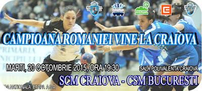 SCM Craiova joaca azi cu campioana CSM Bucuresti
