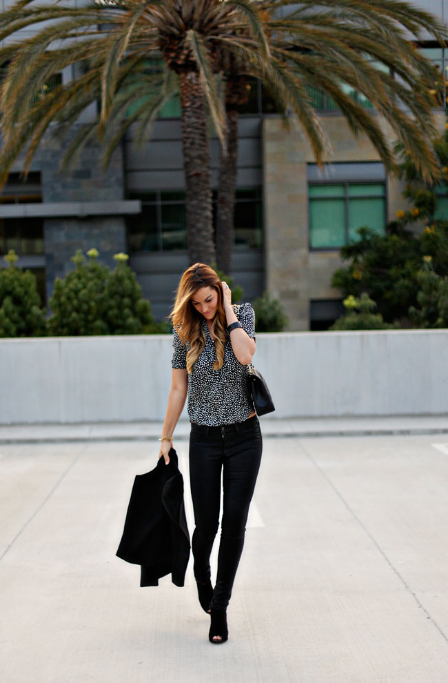 coated skinny jeans, skinnies, fall jeans, best fall pants, joes jeans, black coated jeans, joie silk top, heart printed blouse, fall style, fall fashion, fashion blog, fall 2013, ann taylor, peep-toe booties, theory blazer, black jacket