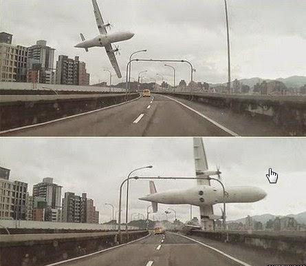Foto dan Video Pesawat TransAsia Jatuh