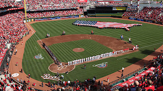 Reds, Cincinnati, Opening Day, pageantry, flag, crowd, stadium