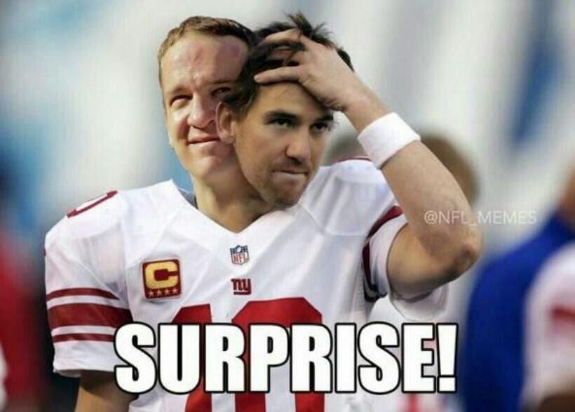 surprise! 22 meme internet surprise! peyton manning as eli manning