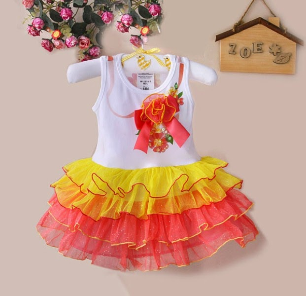 Baju cantik model tutu dress warna kuning dan merah untuk anak perempuan