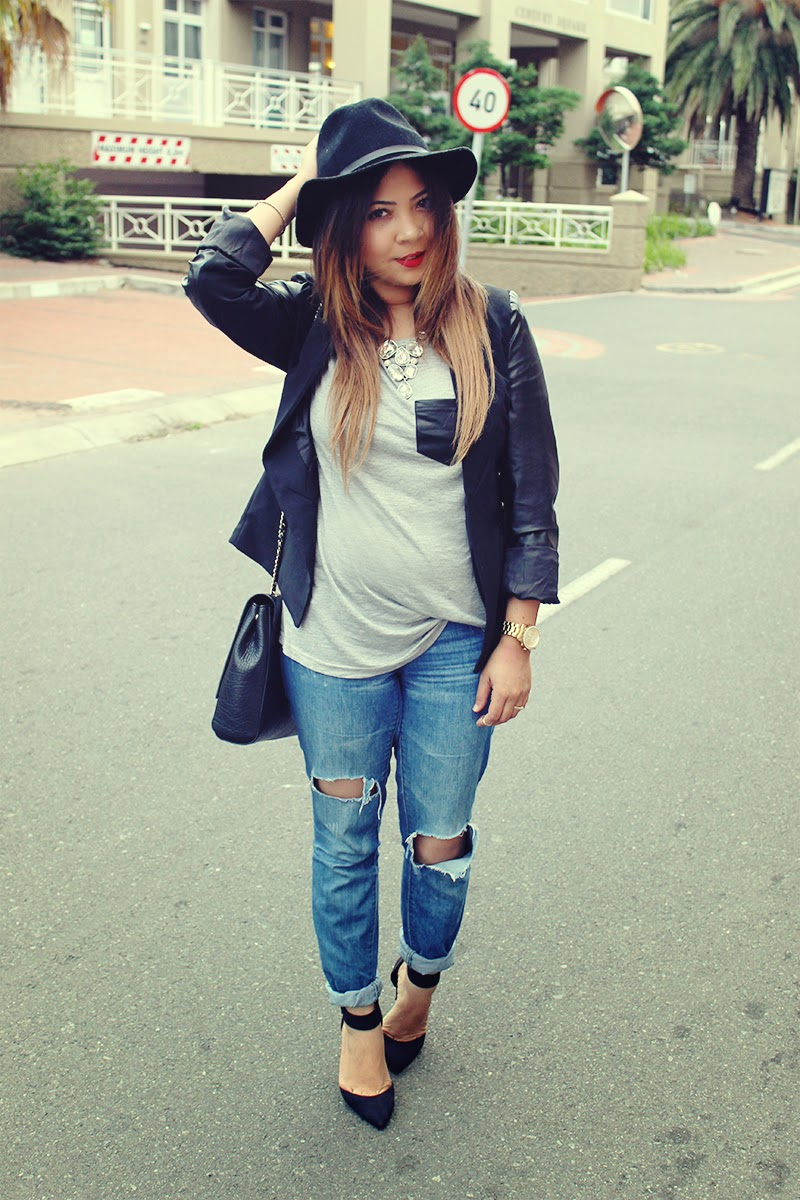 black leather sleeve blazer, grey t shirt, ripped skinny jeans, black felt hat, statement necklace, mac ruby woo, ankle strap heels, fashion blogger cape town, ootd, cape town fashion blog. mac ruby woo