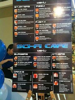 Sci-Fi Cafe Menu