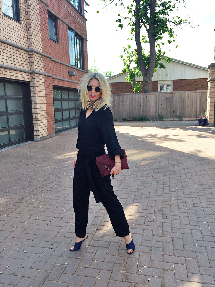 Reformation kimono jumpsuit, Nina Ricci navy satin heels, Madewell suede clutch