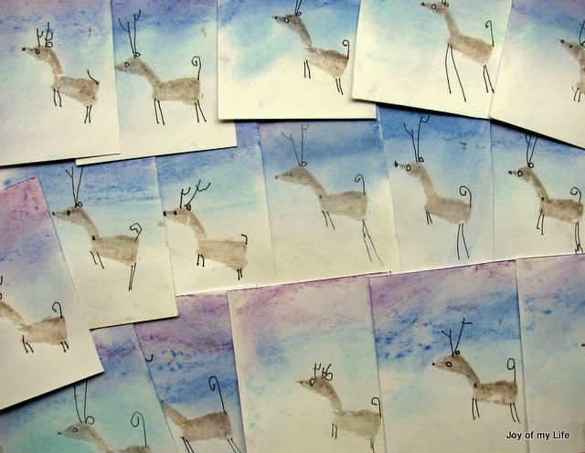 reindeer potato stamp cards