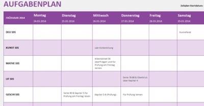 Aufgabenplan woche f r excel online freeware kostenlos for Klassisches haushaltsbuch