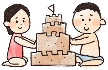 砂のお城のイラスト「男の子と女の子」