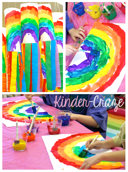 Rainbow windsocks with crepe paper streamers - so cute for Spring!