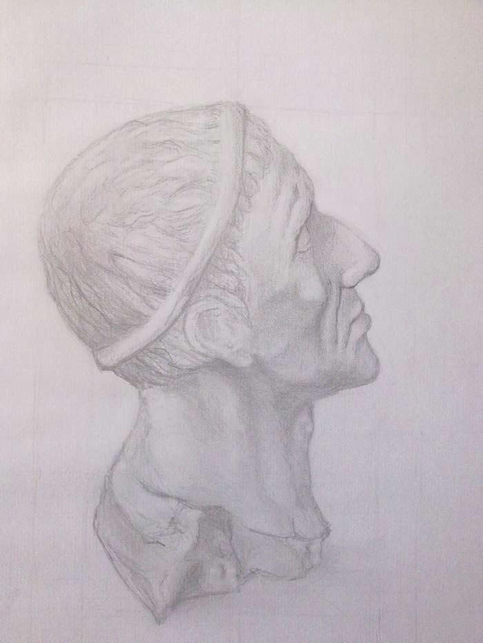 copia de un busto romano con grafito