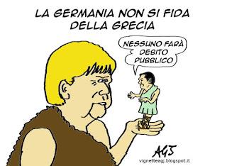 Grecia, Grexit, Merkel, Tsipras, satira vignetta