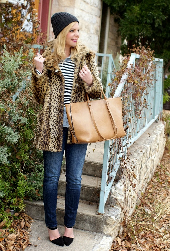 leopard and stripe outfit idea