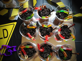 Dirt Pudding is Fill Dirt at Construction Birthday Party